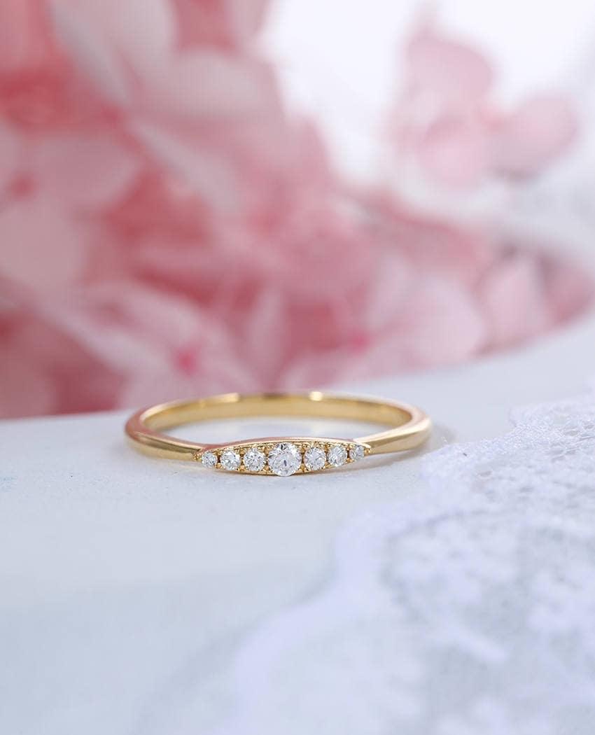 Cluster Diamond wedding Band women Dainty Gold Eternity band | Etsy
