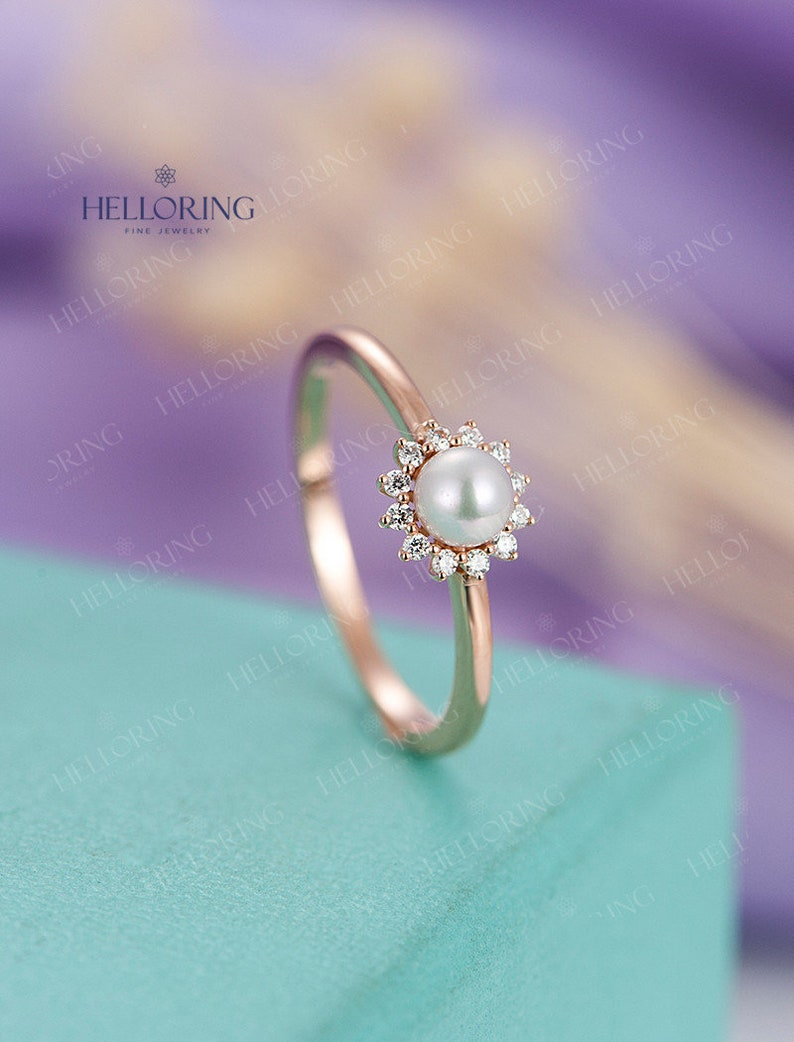 Pearl engagement ring Rose gold engagement ring Women image 0