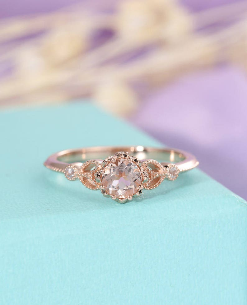 Vintage Morganite ring Unique engagement ring Rose gold image 0
