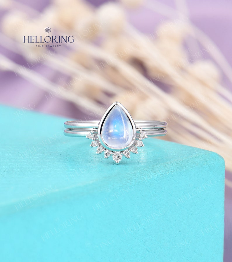 Simple Moonstone Engagement Ring White Gold ring for women image 0