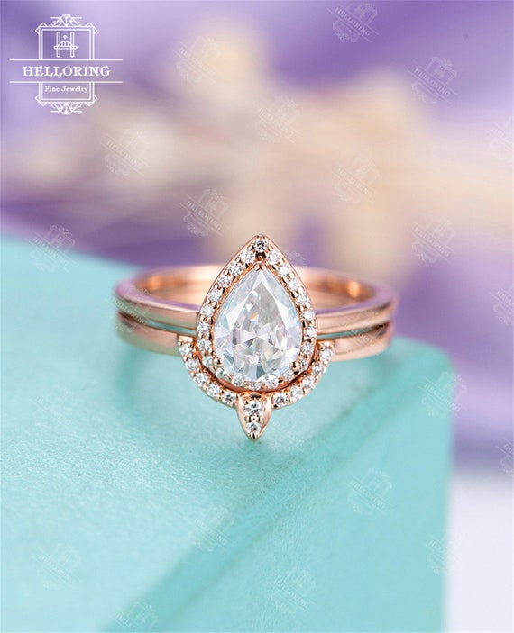 Moissanite engagement ring Vintage Pear Shaped Diamond Wedding band Curved  Rose gold Women Halo Stacking Anniversary gift for her Jewelry