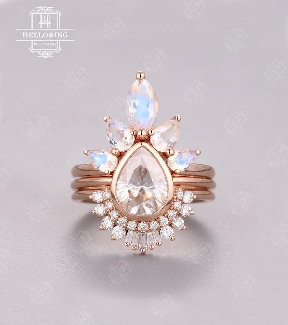 Vintage Moissanite Engagement Ring Set Rose Gold Pear Shaped Etsy