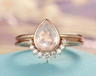 Rose Quartz Engagement Ring set Rose Gold engagement ring Vintage Diamond Wedding ring set Bridal ring Pear cut Stacking Promise ring