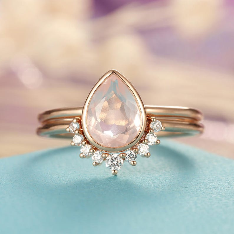 0f144a5fc567d Rose Quartz Engagement Ring Rose Gold engagement ring Vintage Diamond  Wedding ring set Women Bridal jewelry Pear Shaped Cut Stacking Promise