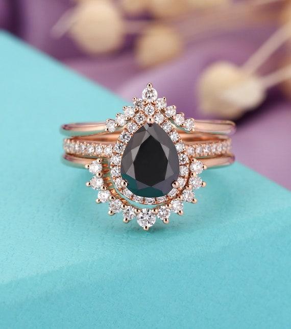 Vintage Engagement Ring Set Rose Gold Women 14k Pear Shaped Etsy