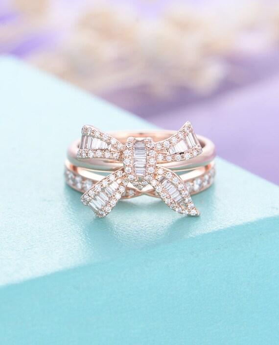 Diamond Engagement Ring Rose Gold Unique Wedding Band Women Etsy