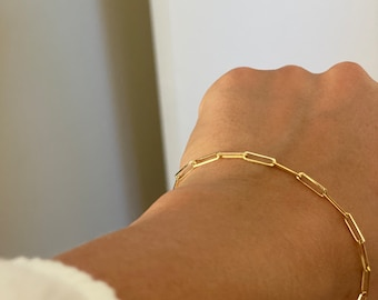 "Waterproof and Never Tarnish kelistom 14K Gold Filled Paperclip Chain Bracelet for Women and Teen Girls 7/"" Rectangle Link Bracelets"