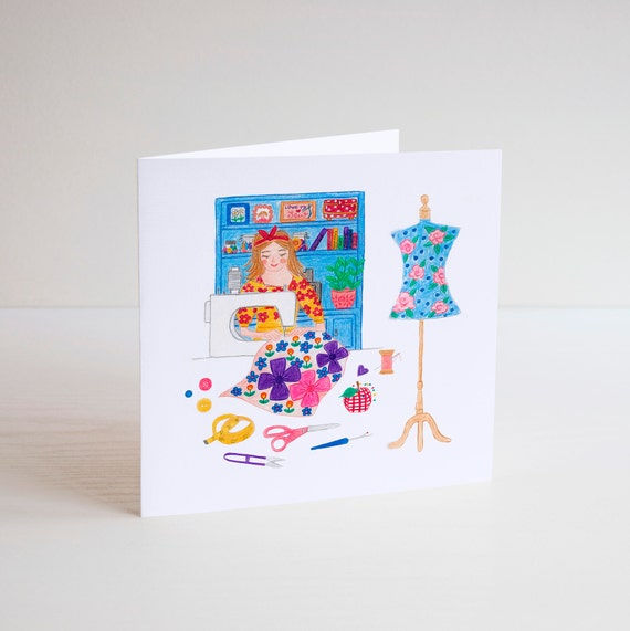 Sewing GREETING CARDS Sewist Dress Maker Quilter Birthday