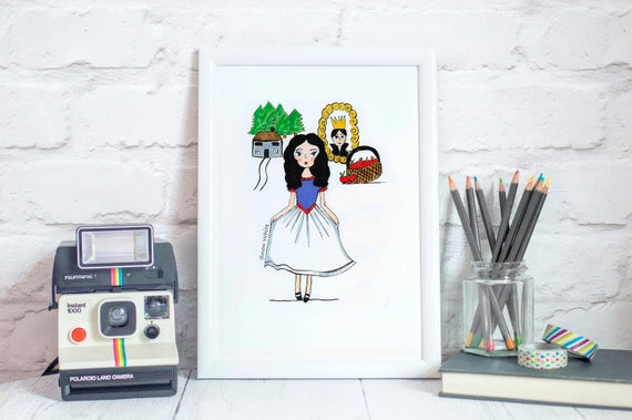 Snow White Fairytale Art Print Nursery Wall Art Kids | Etsy