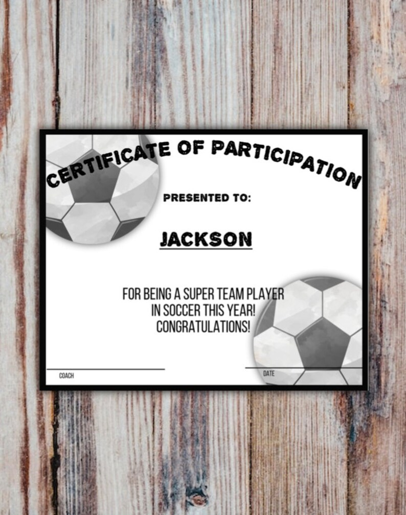 Printable SOCCER Participation Certificate Sports Award INSTANT DOWNLOAD Pdf With Fillable Fields