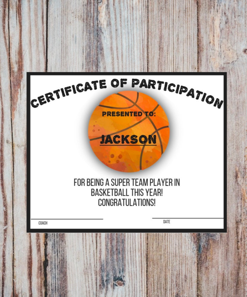 Printable BASKETBALL Participation Certificate Sports Award INSTANT DOWNLOAD Pdf With Fillable Fields