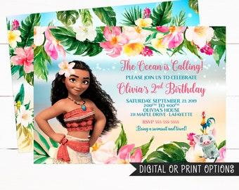 Moana Invitation Girl Invitations Birthday Tropical Printed Digital