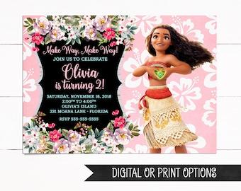 Moana Invitation Birthday Girl Printed Invitations