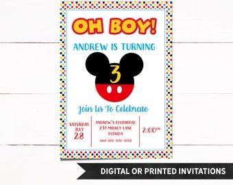 Mickey Invitation, Mickey Birthday Invitation, Mickey Mouse Invitation