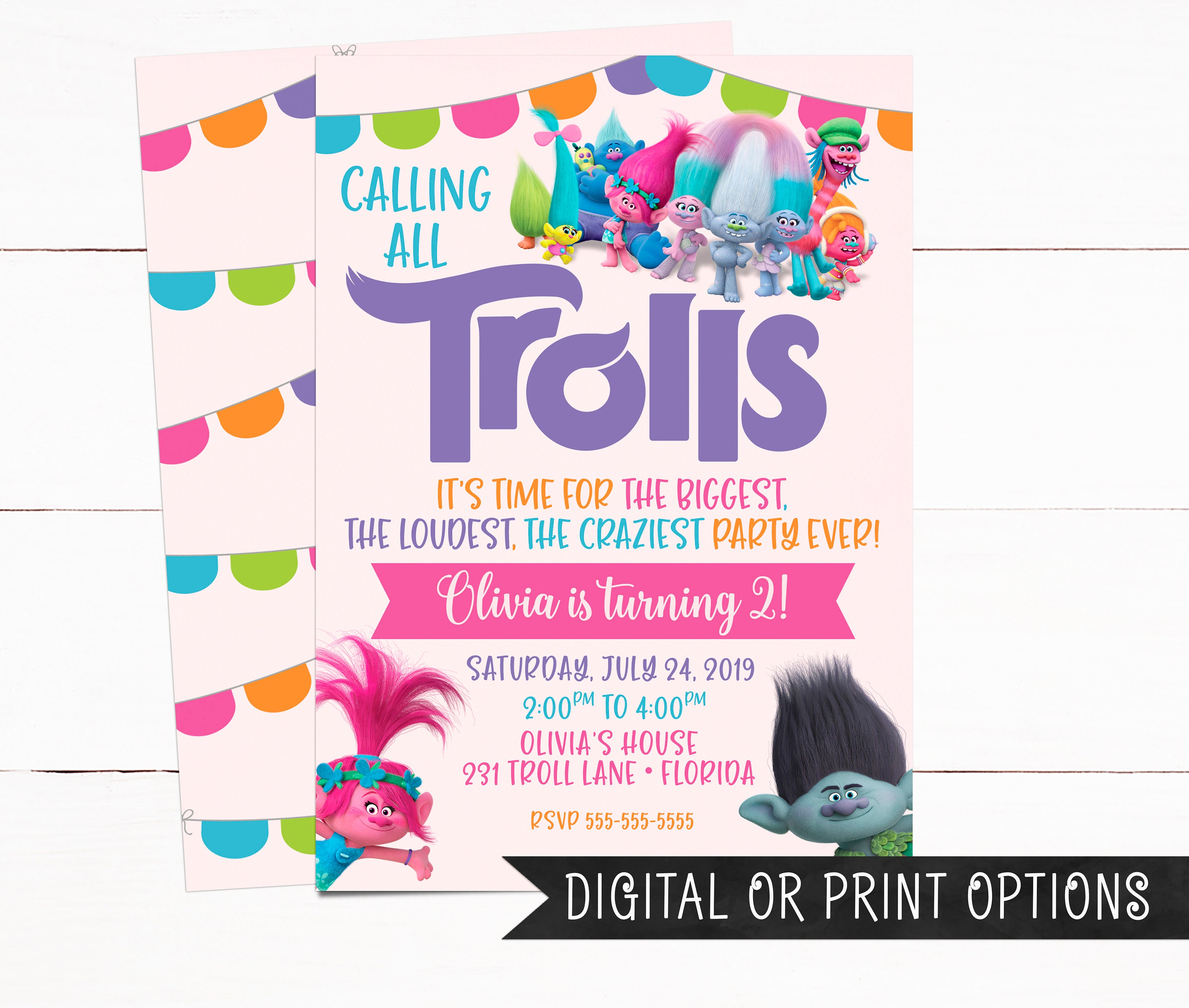 Trolls Invitation Girl Invitations Birthday