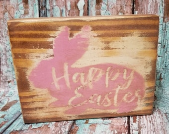 Happy Easter Shabby Chic Distressed Wood Block Shelf Sitter Pink Easter Bunny Easter Home Decor