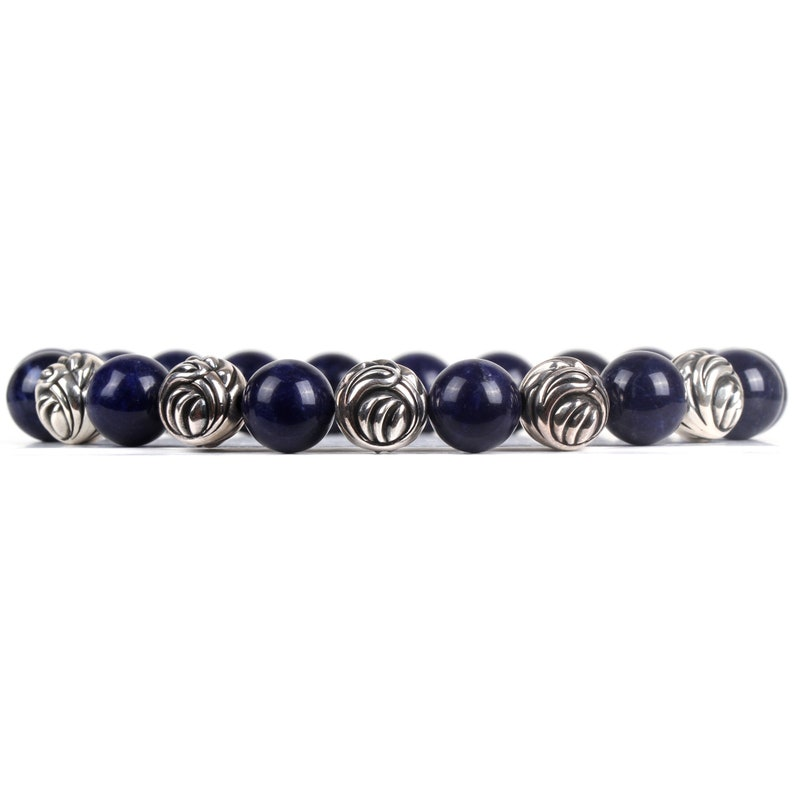 Beaded Bracelet  Blue Sodalite Natural Gemstone 10mm with Five 9.5mm Solid Sterling Silver 925 Bead Elasticated Bracelet
