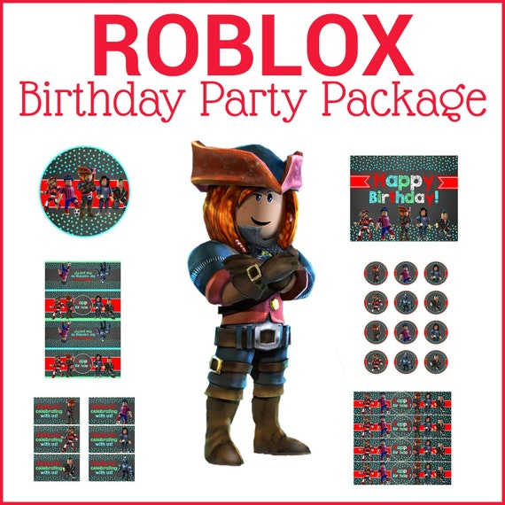 Roblox Birthday Party Package - Chalkboard Teal & Red - Roblox Birthday Party Printables - Roblox Party Favors - Roblox Decor - 100726 - Roblox Chalk Dots