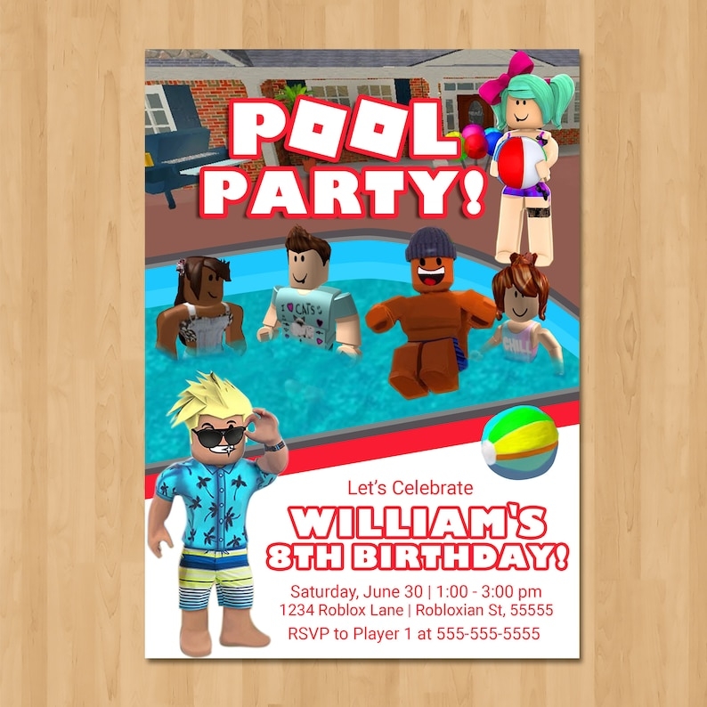 Roblox Pool Party Invitation - Pool Party Roblox Birthday Party Invite - Roblox Party Favor - Roblox Birthday Party Printables - 100973