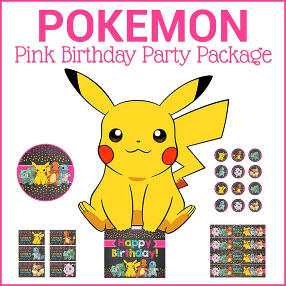 Pokemon Birthday Party Package - Chalkboard Pink - Pokemon Birthday Party Printables Pikachu - Pokemon Girl Party Favors Decor 100652 - Chalk Dots Pink
