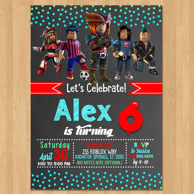 49250909472f Roblox Invite Chalkboard Teal   Red Roblox Birthday Party
