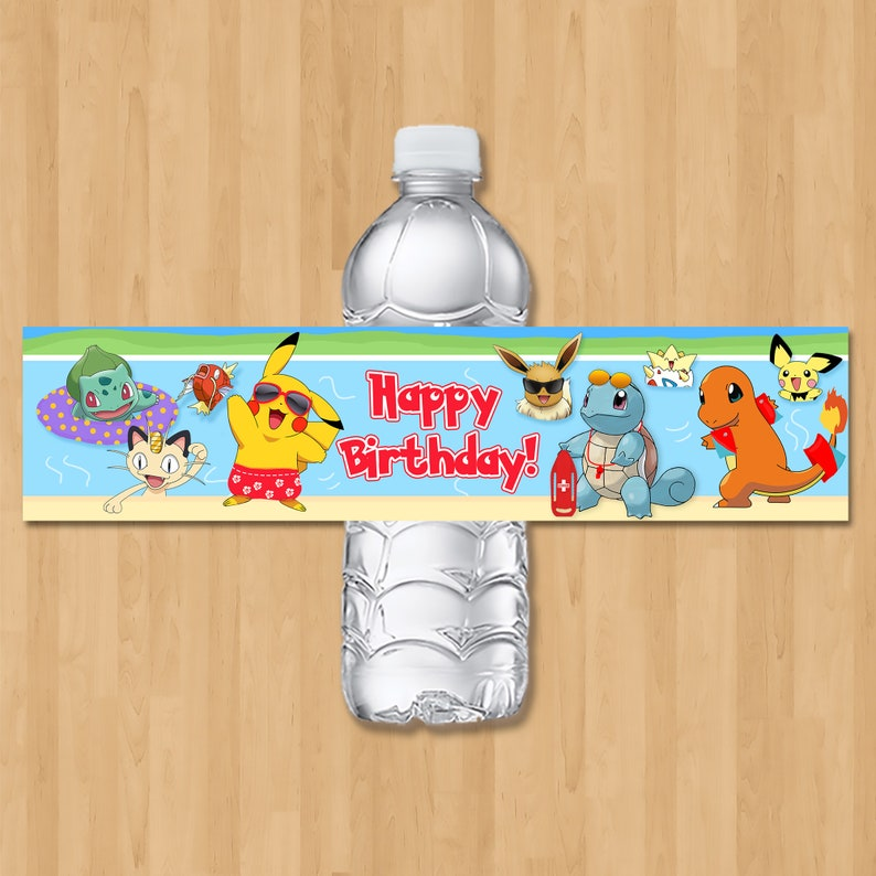 Pokemon Pool Party Drink Labels - Pool Party Pokemon Water Bottle Label - Pokemon Party Favor - Pikachu Birthday Party Printables - 100830