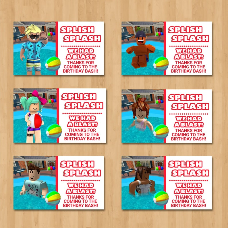 Roblox Pool Party Party Favor Tags - Pool Party Roblox Party Tags - Roblox Party Favors - Roblox Birthday Party Printables - 100973