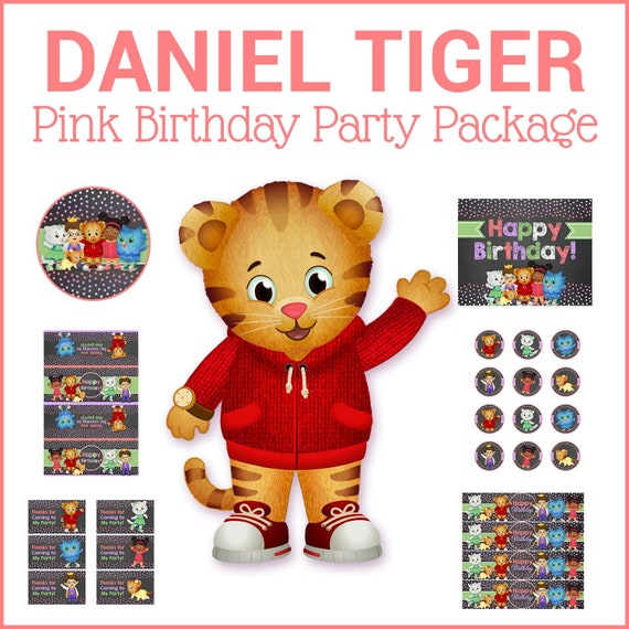Daniel Tiger Birthday Party Package - Chalkboard Pink - Daniel Tiger Birthday Party Printables - Daniel Tiger Girl Party Favors Decor 100640 - Chalk Dots Pink, Purple, Green