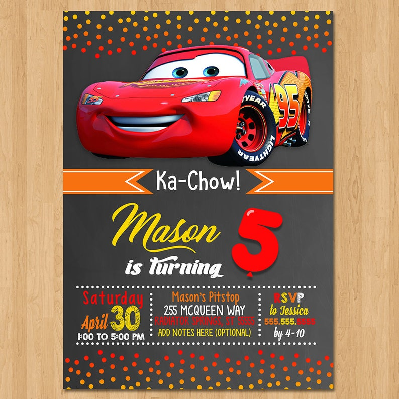 Disney Cars Invite Chalkboard Red Orange Cars Birthday Etsy
