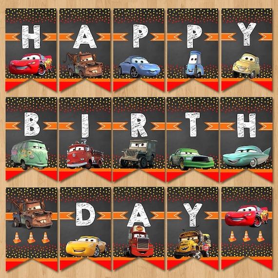 Disney Cars Happy Birthday Banner Chalkboard Red Lightning Etsy