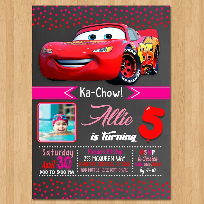 Disney Cars Invite Chalkboard Red Pink Cars Birthday Party Etsy