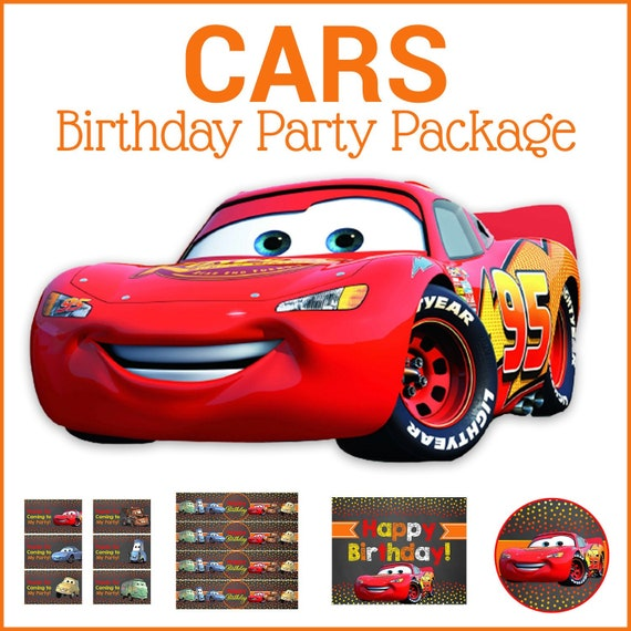 Cars Birthday Party Package - Chalkboard Teal & Red - Disney Cars Birthday Party Printables - Cars Party Favors - Cars Decor - 100641 - Chalk Dots Red, Orange, Yellow
