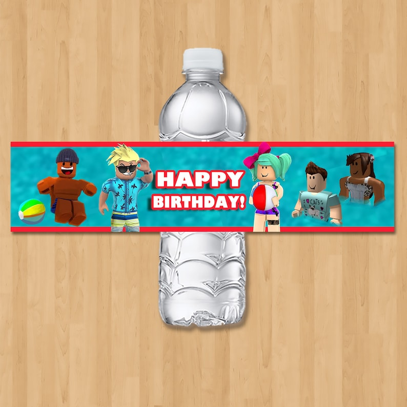 Roblox Pool Party Drink Label - Roblox Birthday Party Water Bottle Label - Roblox Party Favor - Roblox Birthday Party Printables - 100973