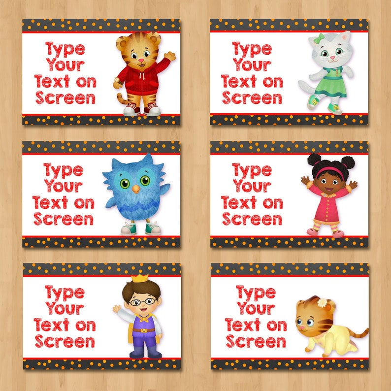 Daniel Tiger Birthday Food Tents - Chalkboard Red Food Labels - Daniel Tiger Party Place Cards - Boy Daniel Tiger Party Favors - 100639