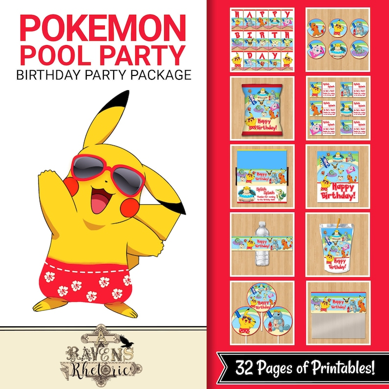 Pokemon Pool Party Birthday Party Package - Pokemon Birthday Party Printables - Pikachu Pool Party - Pokemon Party Favors Decor - 100830 - Pool Party