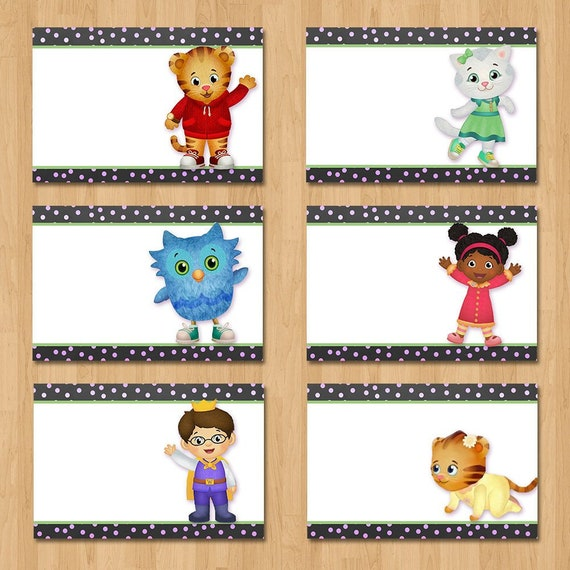 Daniel Tiger Birthday Food Tents - Chalkboard Pink Food Labels - Daniel Tiger Party Place Cards - Girl Daniel Tiger Party Favors 100640