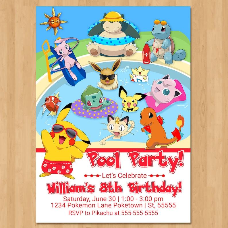 Pokemon Pool Party Invitation - Pool Party Pokemon Birthday Party Invite - Pokemon Party Favor - Pikachu Birthday Party Printables - 100830
