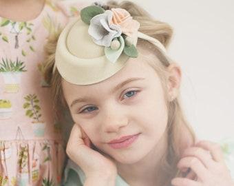 40ffe667760 Cream Floral Bouquet Mini Pillbox Hat Headband