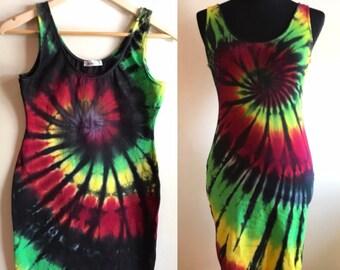 448181e297a2 Tie Dye Dress Rasta Tank Bodycon Women s M
