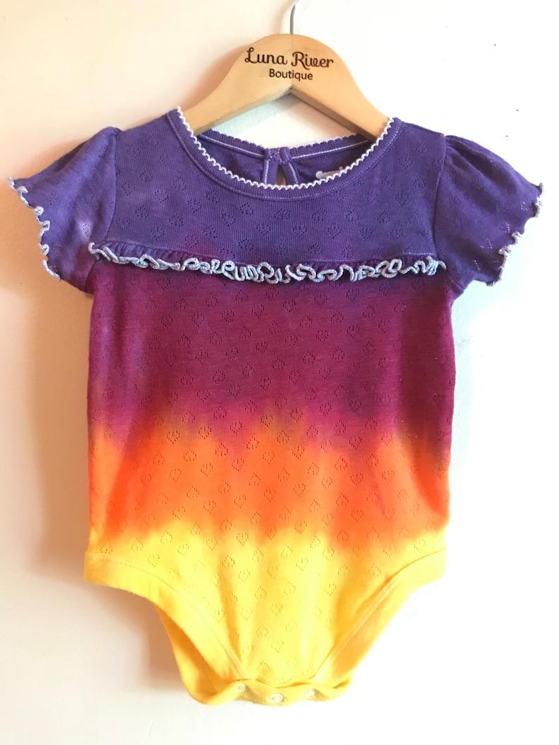 f6c7fff5ef47 Tie Dye One Piece Bodysuit Onesie Baby Girl Sunset Ombré
