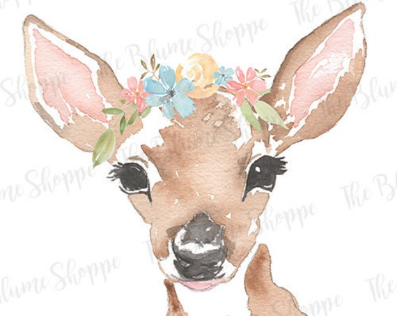 Fawn Woodland Print   Deer