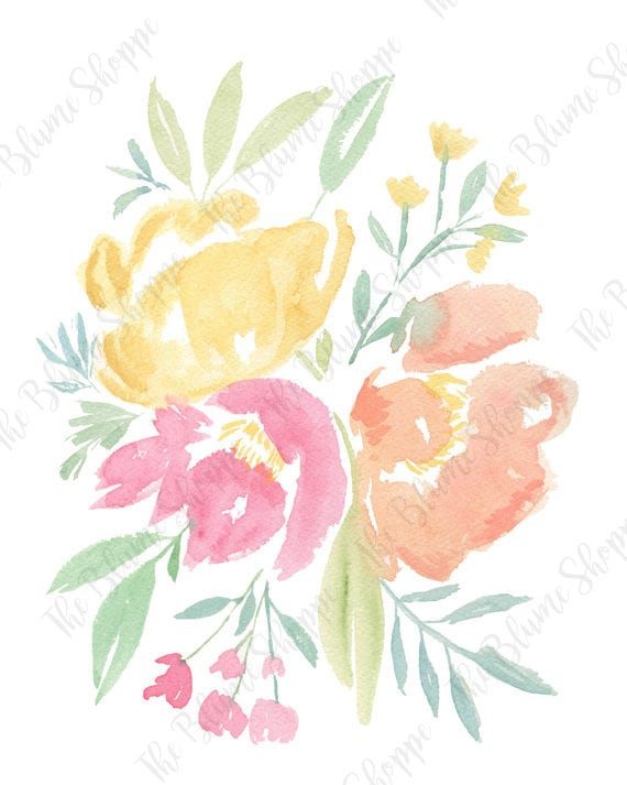 Pastel Peonies | floral watercolour