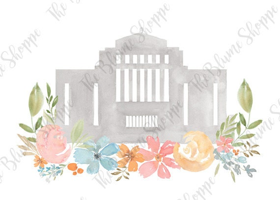 Cardston Temple Pastel Floral