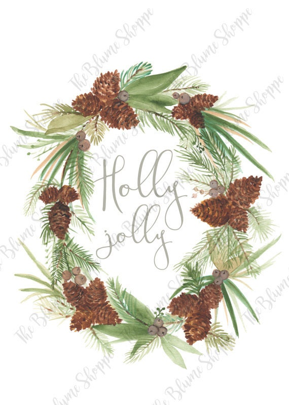 Holly Jolly Pine Cone Wreath