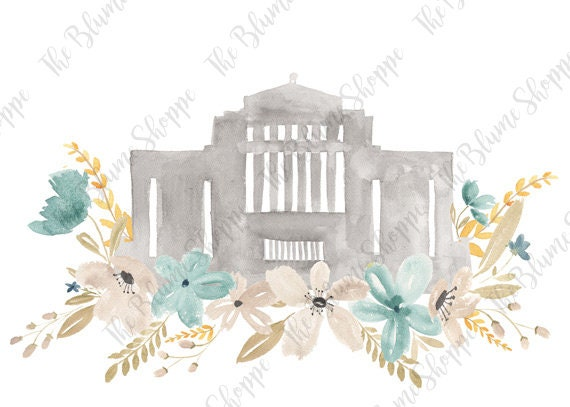 Cardston Temple Blue Floral