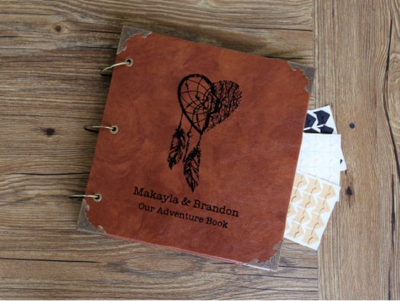 Personalized Engraved Leather Photo Album Custom Dreamcatcher Etsy