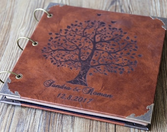 10x10 inches Personalized Engraved Leather Photo Album /Custom Family Tree Wedding Guest Book/wedding Scrapbook