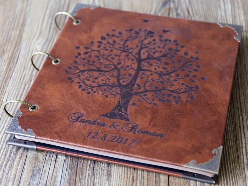 226320eddfc8b Personalized Engraved Leather Photo Album /Custom Family Tree Wedding Guest  Book/wedding Scrapbook
