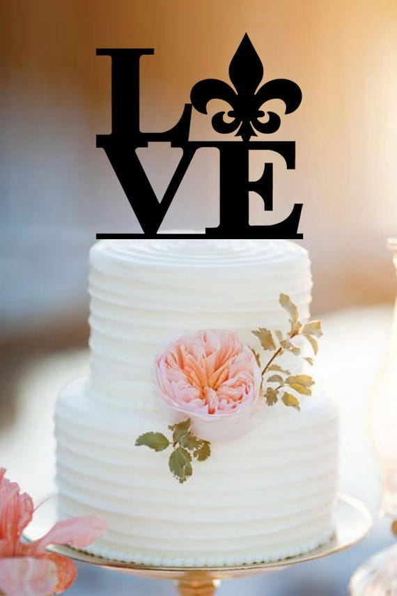 Love With Fleur De Lis Wedding Cake Topper Personlized Bride Etsy
