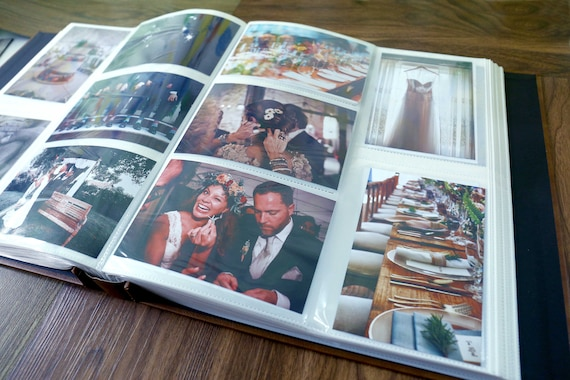Wedding Leather Photo Album with sleeves for Maxinum 880 4x6 photosBridal giftPersonalised Wedding giftsLeather Wedding Scrapbook